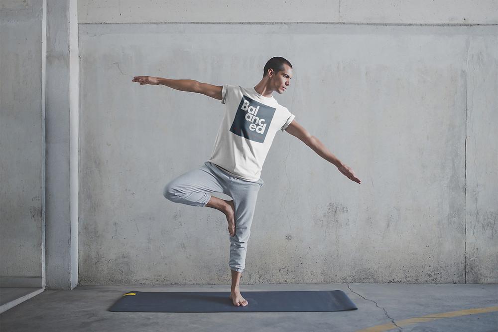 Balanced Agency brand on a t-shirt