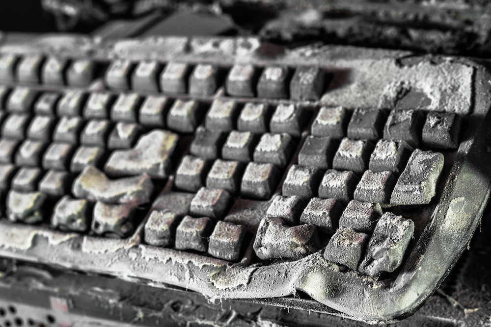 Burnt computer keyboard facilities management cleaning