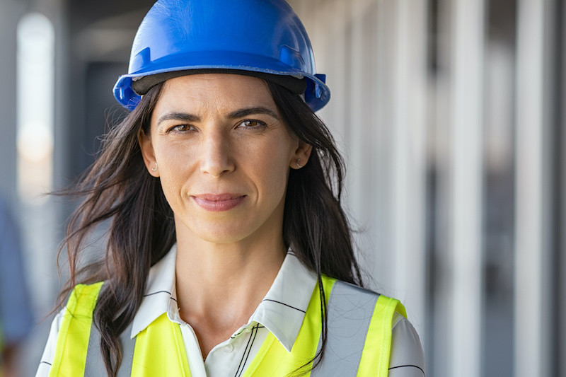 portrait of woman engineer protected by Sky Alert SOS