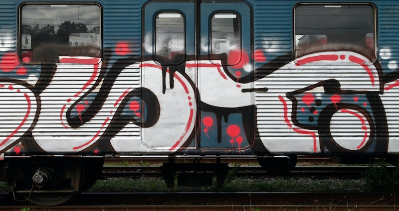Train covered in unsightly graffiti to be removed by React Specialist Cleaning