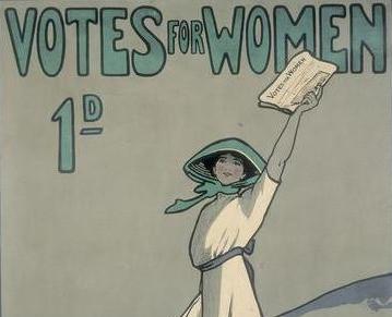WSPU poster by Hilda Dallas, 1909.