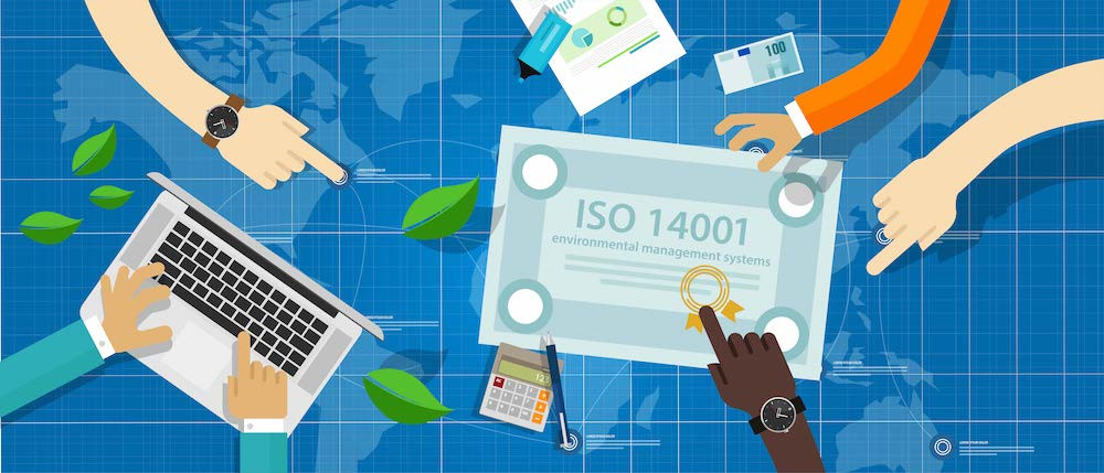 Cartoon of workers pointing to an ISO14001 Cert held by React