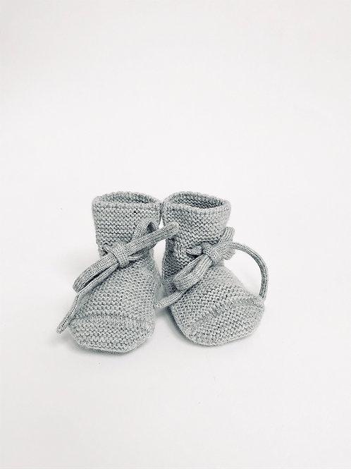 Hvid - Booties grey melange