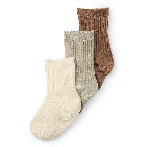 Konges sløjd - 3 pack rib socks Almond-Paloma grey-creme