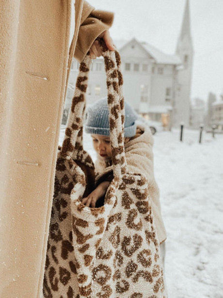 Studio Noos -Teddy leopard ecru mom-bag