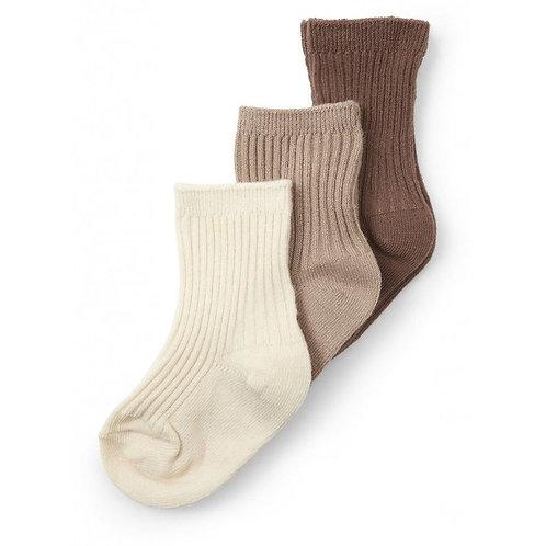 Konges sløjd - 3 pack rib socks Mocca-Hazel-creme