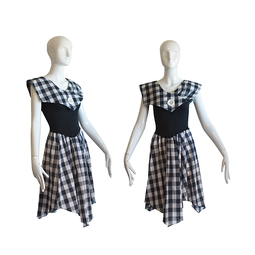 1980's Deadstock Young Love B/W Gingham Dress