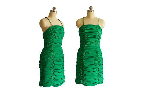 1980's Mike Benet Kelly Green Ruched Dress