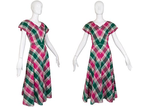 1940's Handmade Plaid Dress