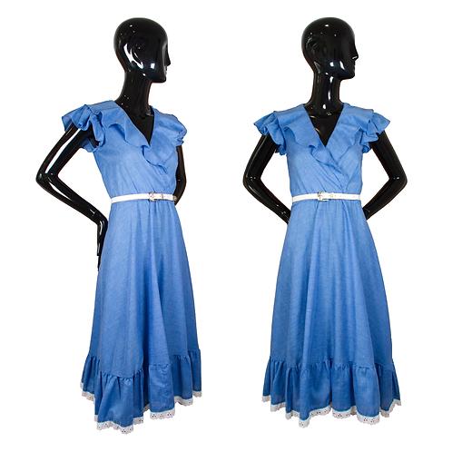 1970's We 3 Ltd. Blue Chambray Ruffle Dress w/Belt