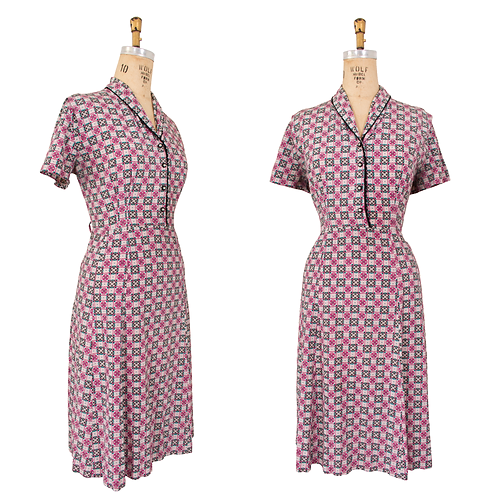 1950's Rayon Dress w/Rhinestone Buttons and Geometric Floral Print