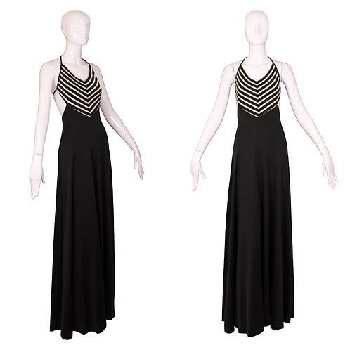 1970's Joy Stevens Black Halter Disco Dress w/Chevron Style Pattern