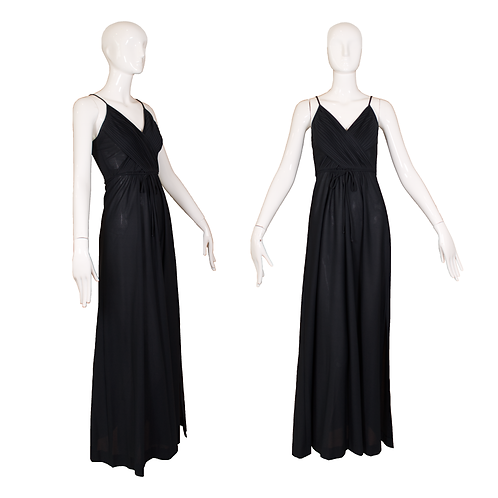1970's Themes Black Polyester Maxi Dress