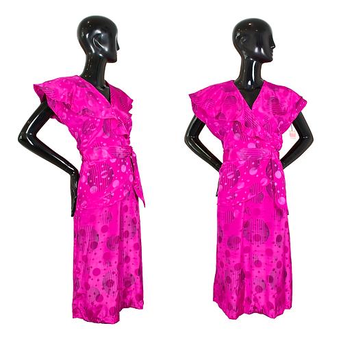 1980's Deadstock John Richard Fuchsia Circle Print Dress