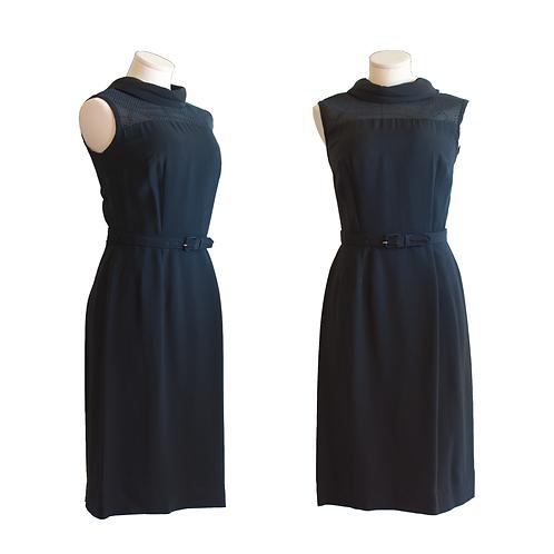 1960's Alden's Wiggle Dress w/Black Mesh Yoke