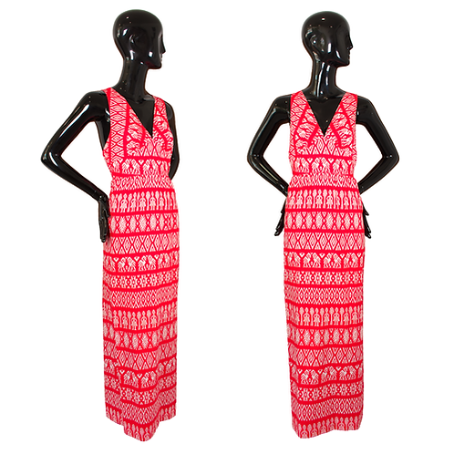 70's/80's Junior Loungees Red/White Ikat Bird Print Maxi Dress