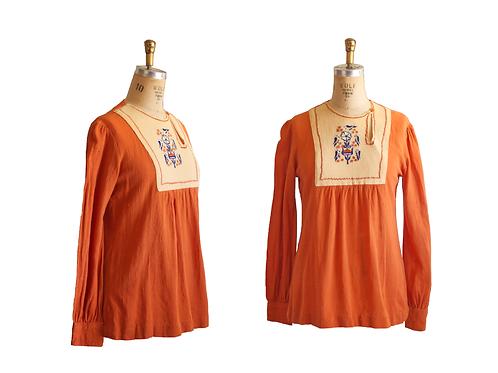 60's/70's Boho Indian Tunic w/Bird Embroidery