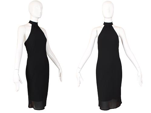 1980's Abaci Sheer Black Halter Dress w/Built In Slip