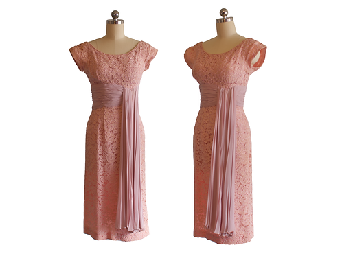 50's/60's Dusty Rose Lace Dress w/Silk Chiffon Sash