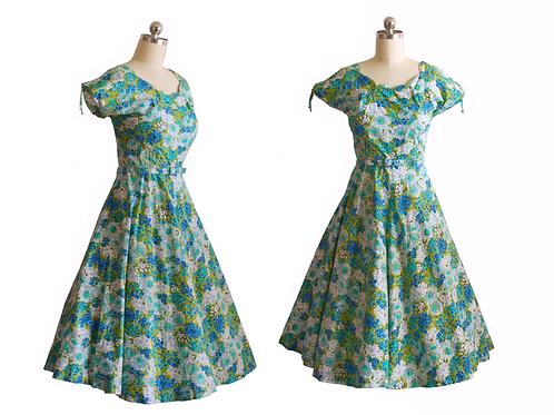 1950's Handmade Green/Blue Floral Dress w/Scalloped Neckline