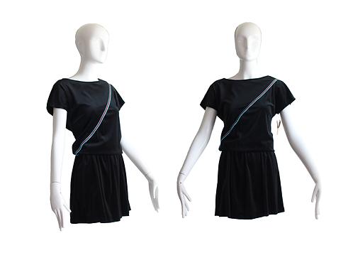 1980's Deadstock Black Velour Mini Dress