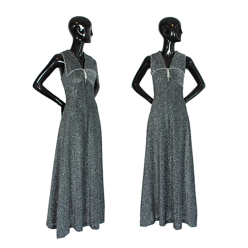 1970's Black/Silver Lurex Gown w/Pearl Detail