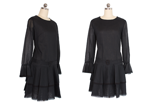 1960's Carlette Sheer Black Mod Tiered Mini Dress