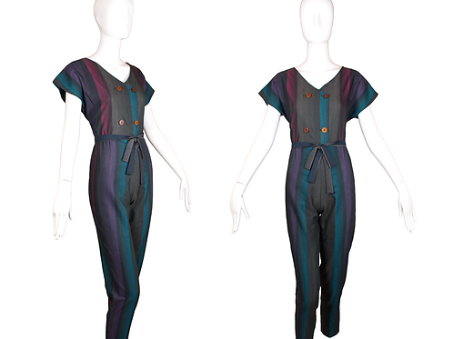 1980's Eber Double Breasted Jumpsuit w/Stripes