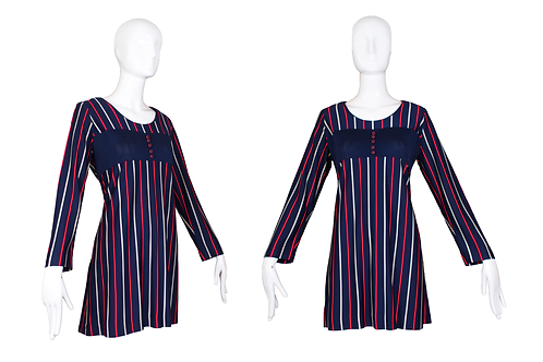 1960's Navy Blue Mini Dress w/Stripes and Long Sleeves