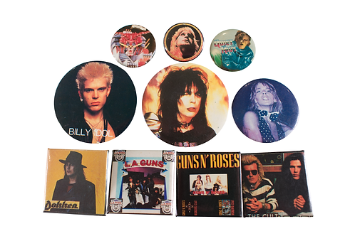 1980's Rock Band 10 Button Set