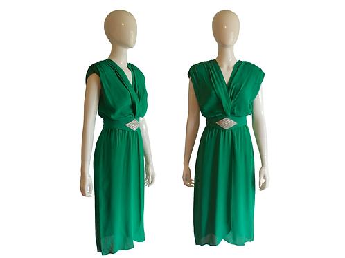 1980's DLM Bright Kelly Green Rayon Dress w/Sequin Sash Belt