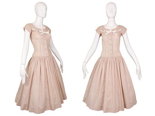 1950's Tan/White Gingham Dress w/Rhinestone Buttons