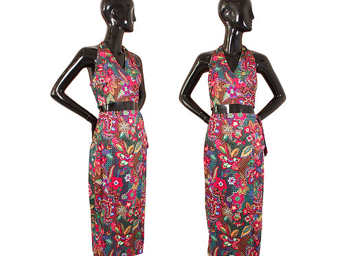 80's/90's Contempo Casuals Two-Piece Halter Top w/Wrap Around Skirt