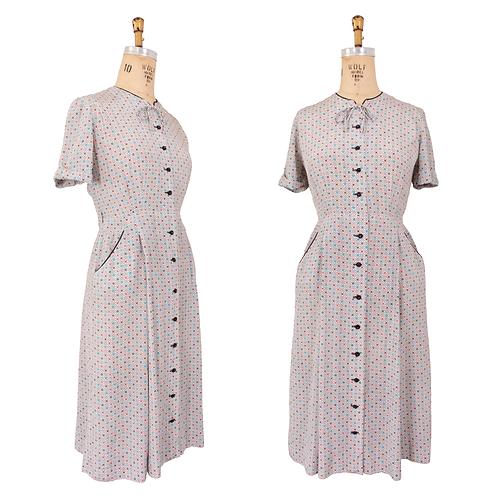 1950's Rayon Dress w/Pockets and Colorful Diamond Print