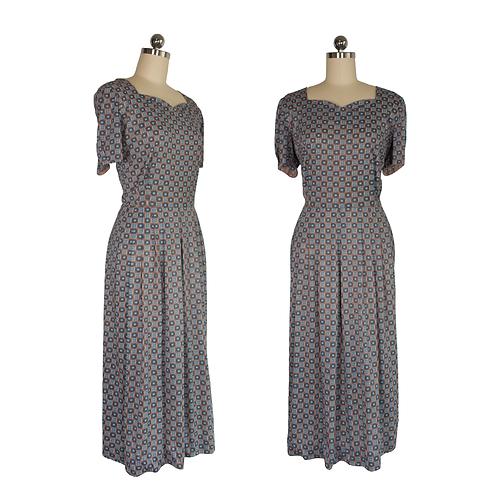 1960's Blue/Taupe Shirtwaist Dress w/Pattern and Scalloped Neckline