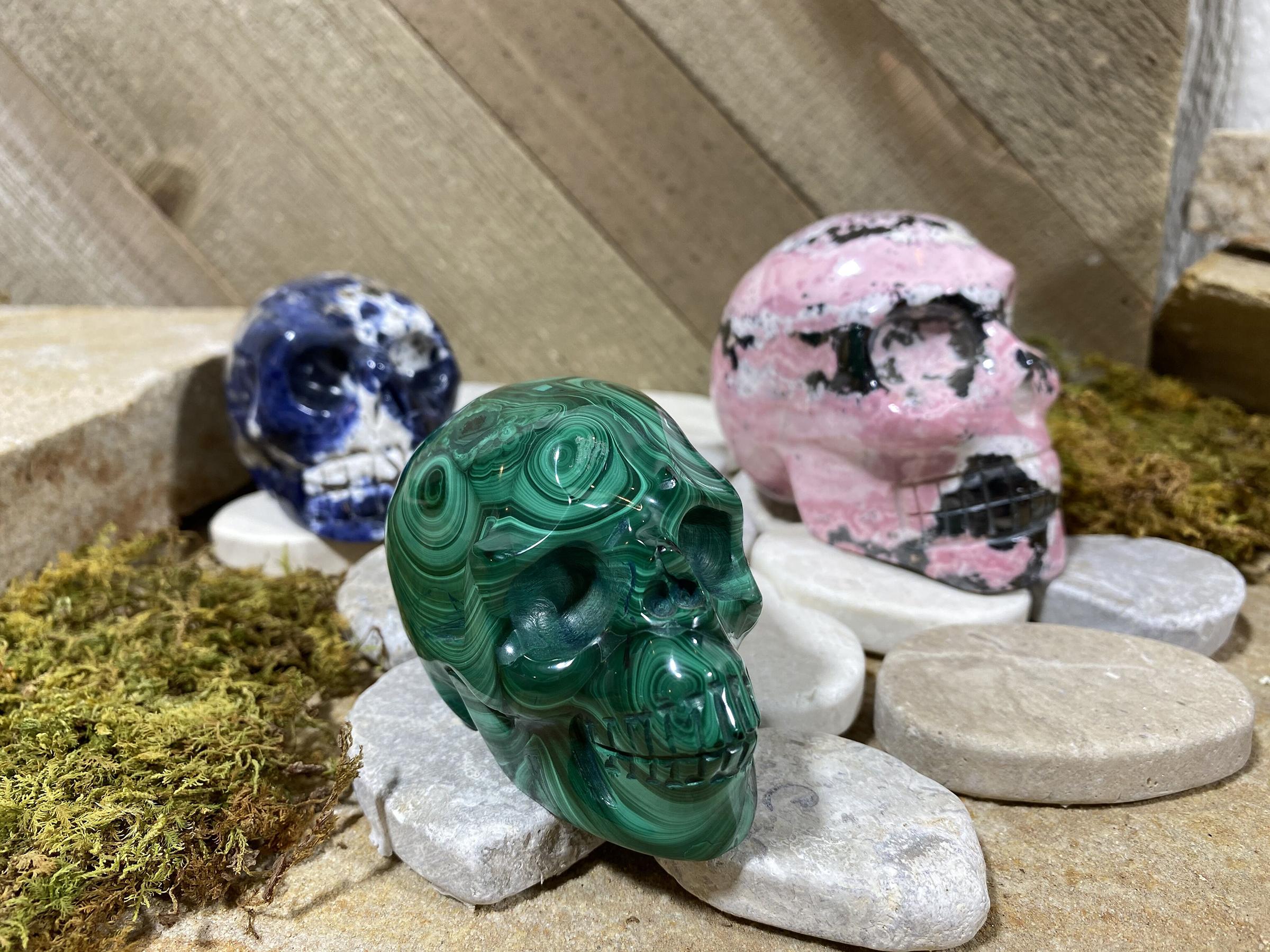 Malachite Skull