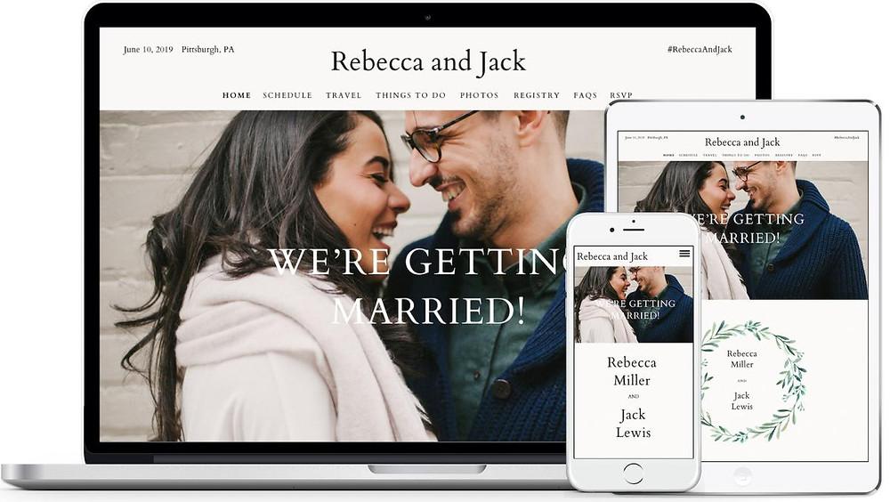 A sample wedding website from Zola.com