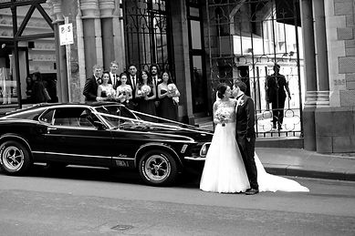 Mustangs in Black 1970 Mach 1 Ford Mustang Fastback outside Chapter House in Flinders Lane, Melbourne for a wedding shoot. Photo by JMS Photography