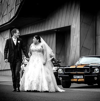 Mustangs in Black 1966 GT Convertible Ford Mustang at Overnewton Castle in Melbourne for a wedding shoot. Photo by David Fowler Photography
