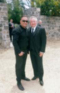 Mustangs in Black with wedding celebrant and tv presenter Greg Evans at Medadwobank Receptions.