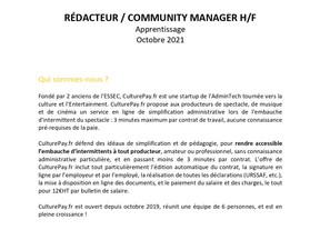 CulturePay.fr - RÉDACTEUR / COMMUNITY MANAGER H/F Apprentissage Octobre 2021