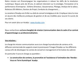 ACADYS - Contrat d'apprentissage                 Chargé de mission Communication
