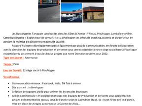Les Boulangeries Tartapain - Alternance chargé (e) de communication