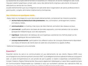 Essentiel, agence de communication, pour son pôle événementiel, un(e) alternant(e) en bac +3 à 5