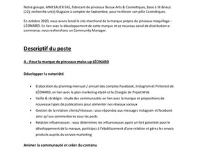 Community Manager  cosmétiques - GROUPE MAX SAUER- contact Mme COÏC helene@bullier.fr / 0662371228
