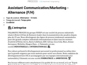 Palamatic - Assistant Communication/Marketing - Alternance (F/H)