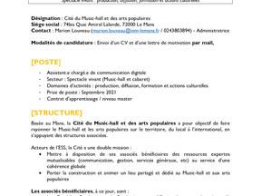 la Cité du Music-hall et des arts populaires - Chargé.e de communication en alternance