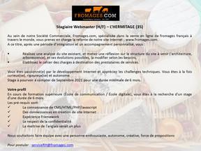 Fromage.com - recherche un (e) Stagiaire Webmaster (H/F) – L'HERMITAGE (35)