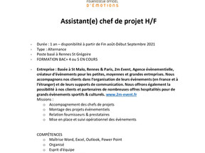 2m Event - Assistant(e) chef de projet H/F en alternance