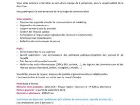 Chargé.e de communication - Réseau des Missions Locales BRETAGNE - ALTERNANCE
